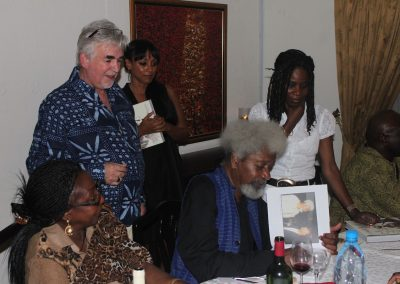 Prof Soyinka signing books at his 75th