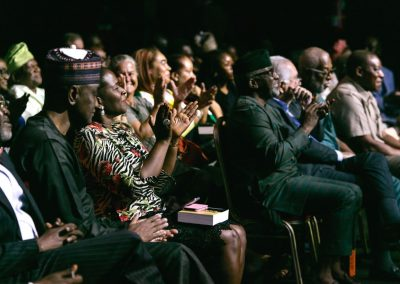 Audience applause, genuine delight in their Nobel Laureate